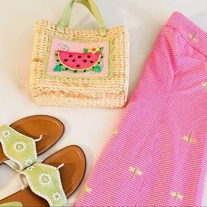Handbags - Pink + Mint Beaded Watermelon Straw Bag